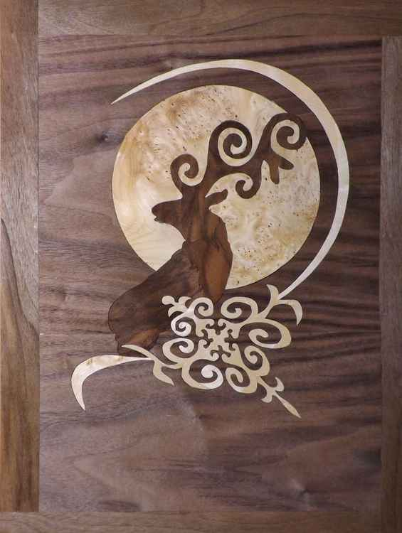 Moon over Kyrgyzstan (marquetry work) -