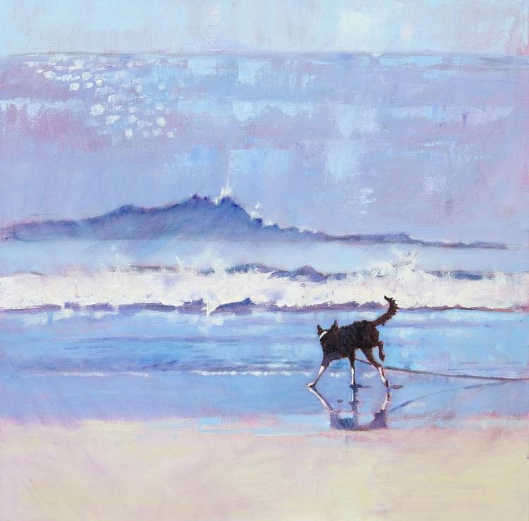 Border Collie Dog Grace Encounters a Wave. No 2 - Image 0