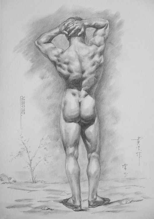 original drawing charcoal sketch male nude gay man art on paper #11-10-06 -