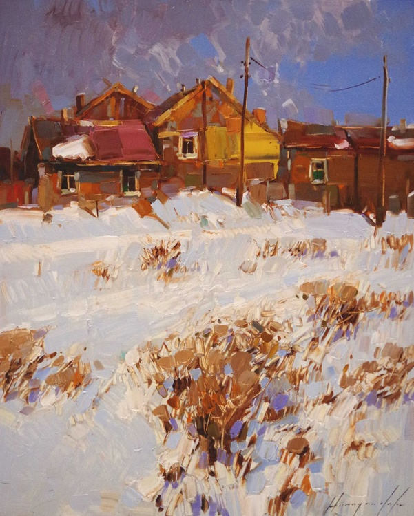 Village Yard Landscape Winter Original oil painting  Hand painted art work One of a kind - Image 0