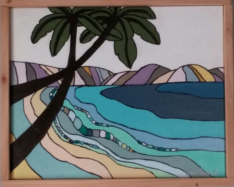 """""""Palm Trees"""" Color Block Framed Art by Kris Gould - Image 0"""