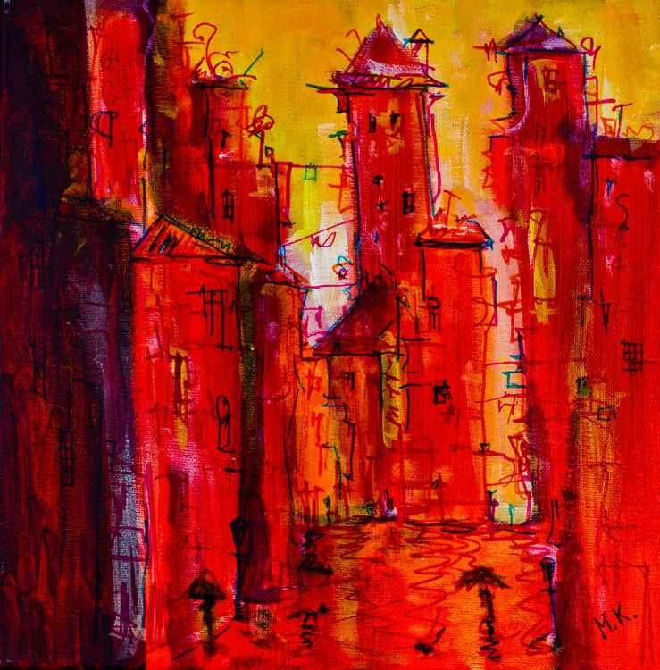 Red Rainy City - original painting -