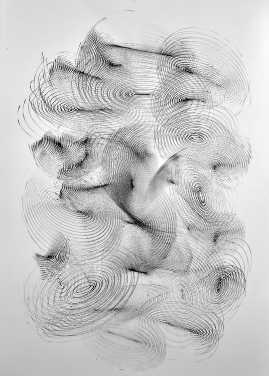 Vibrations Clouds - Ink Drawing Art On A1 Big Size Paper - Image 0