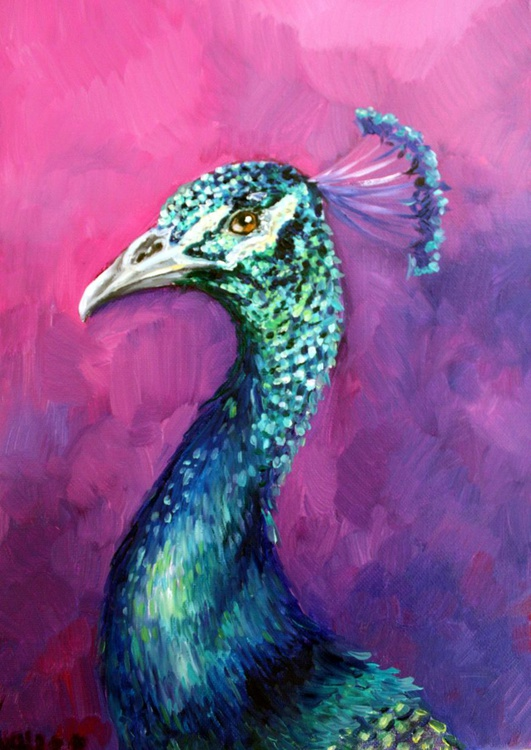 """Original oil painting of a peacock,""""Charming"""" - Image 0"""