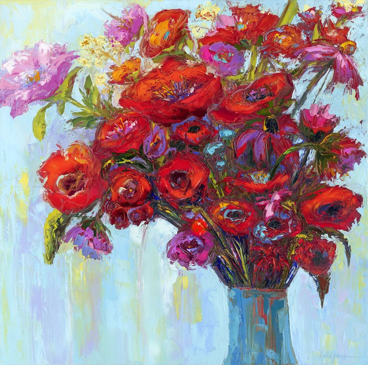 Blossom of the Heart - Modern Impressionist Original oil Floral Painting palette knife - Image 0