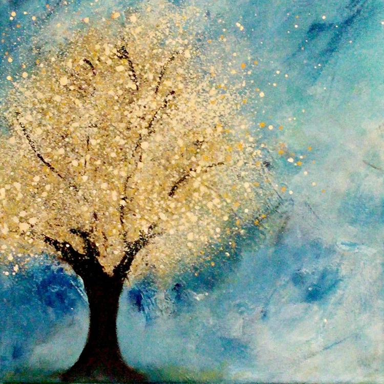 """Golden Tree // Abstract Impressionism Painting // 12x12"""" Canvas - Image 0"""