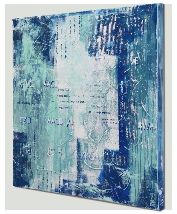Acrylic Abstract Painting - TypoPop in Blue - 487 - Image 0