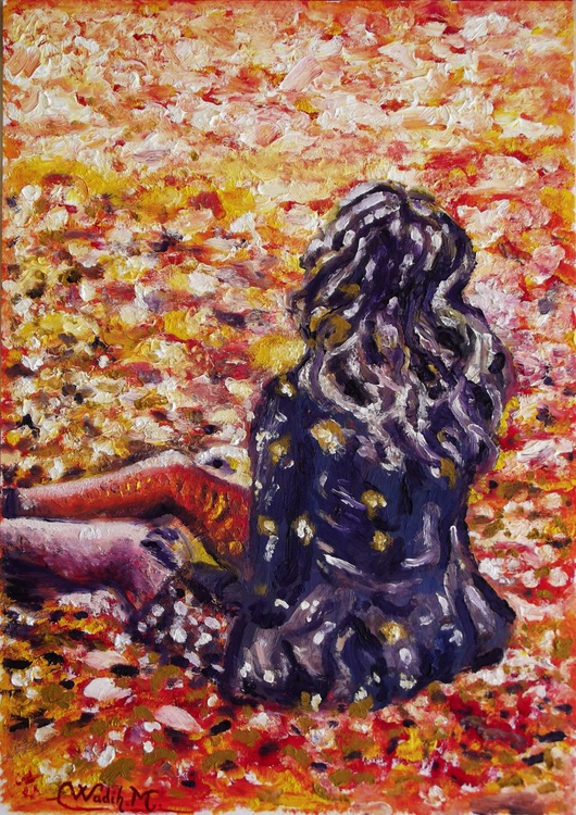 AUTUMN GIRL - Thick oil painting - 29.5x42 cm - Image 0