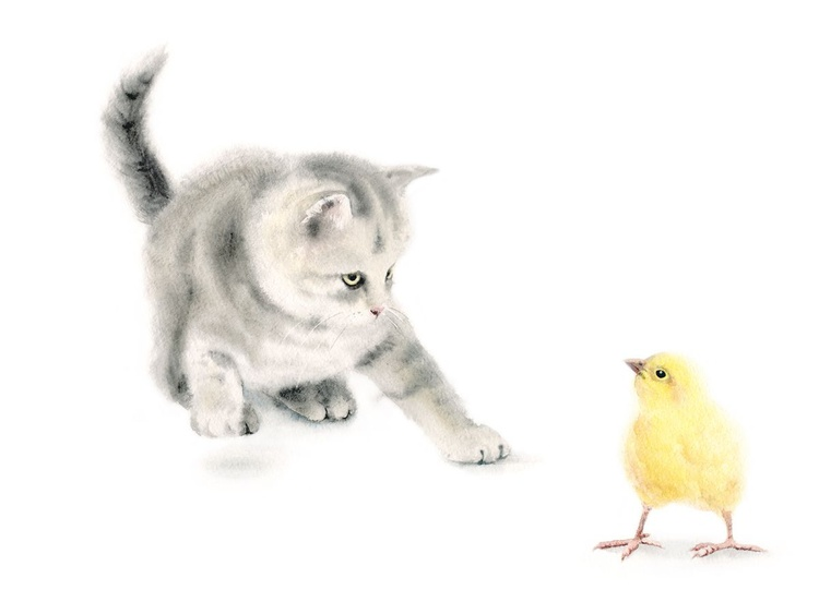 A Kitten Plays with a Baby Chick - Image 0