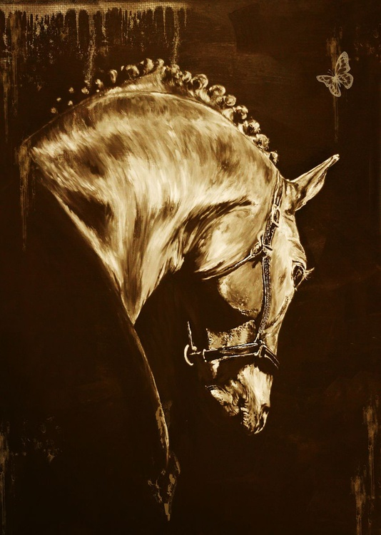 Horse head / Limited Edition Digital Print / Office Home Equine Sepia Modern - Image 0