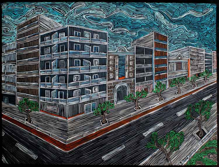 ''downtown'' from my series ''embroidery''