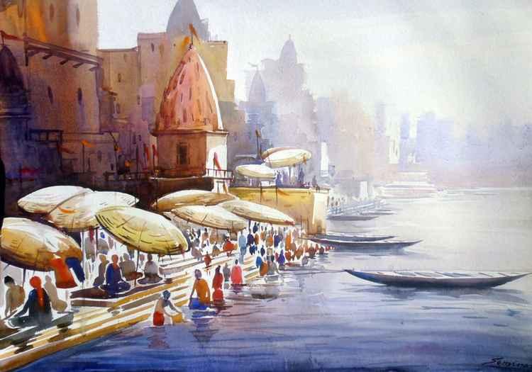 Varanasi Ghat at Morning-Watercolor on Paper -