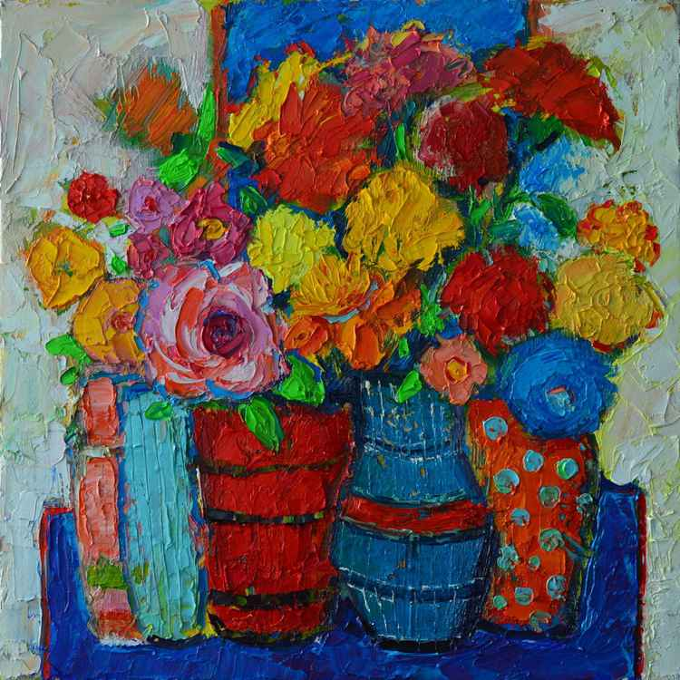 ABSTRACT FLORAL - COLOURFUL VASES AND FLOWERS