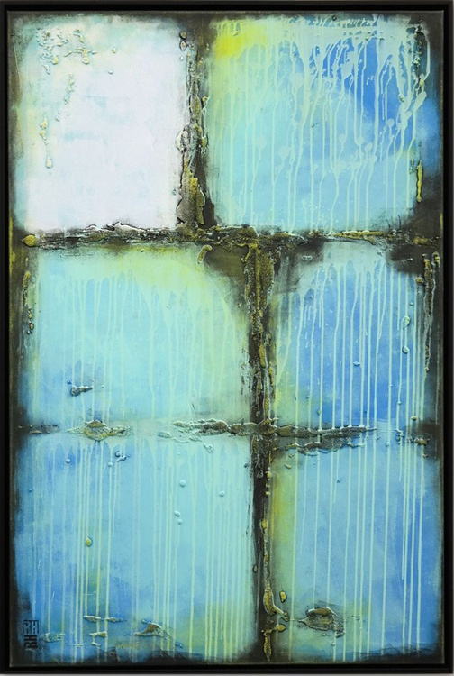 Abstract Painting - Turquoise City Blocks - A35 - Image 0