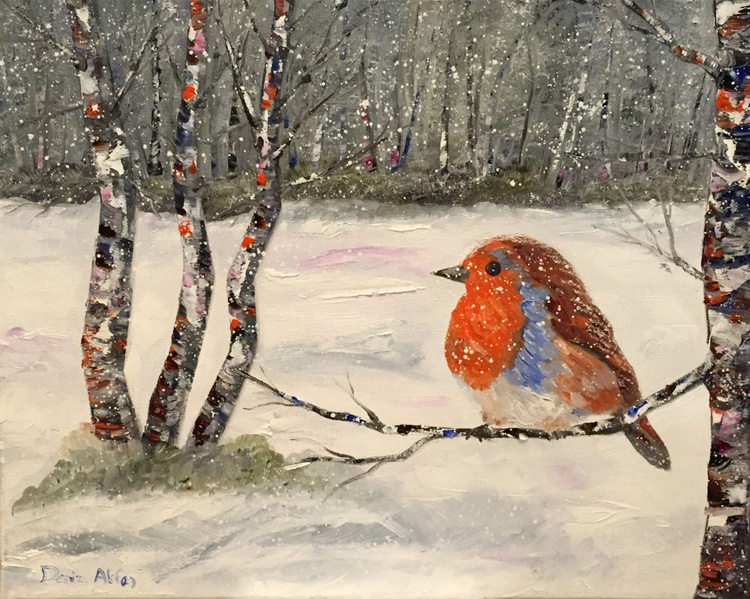 The Robin, Birches and The Snow - Image 0