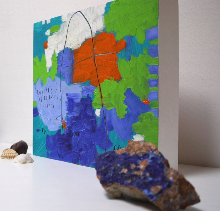 All Summer Long | small abstract oil painting | blue green orange - Image 0