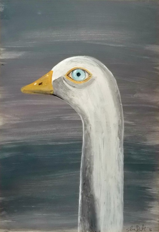 The goose - oil on paper - Image 0