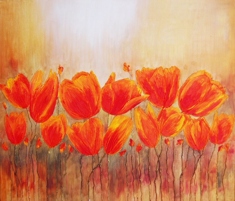 Field of Tulips I - Large Modern Ready to Hang Painting, Flowers Acrylic Painting, Floral Painting - Image 0