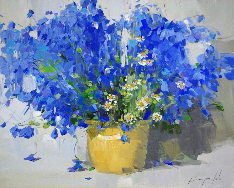 Blue Flowers Original oil painting,  Handmade artwork, One of a kind Signed with Certificate of Authenticity - Image 0