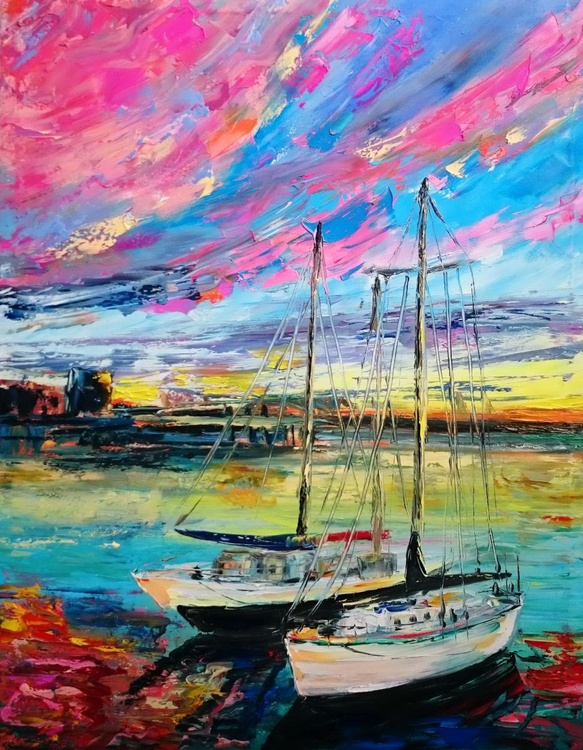 Two yachts; Size 70 X 90cm - Image 0