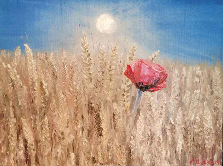 Poppy and wheat field.Oil painting, Canvas. -