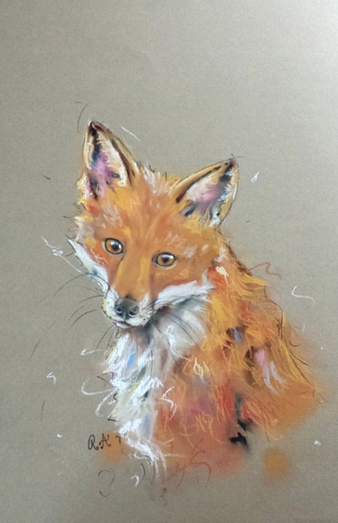 The Young Fox - Pastel painting on paper - Impressionist - Image 0