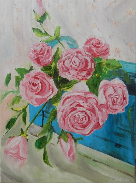 ''Expectance''- original oil painting roses home decor wall decor gift idea - Image 0