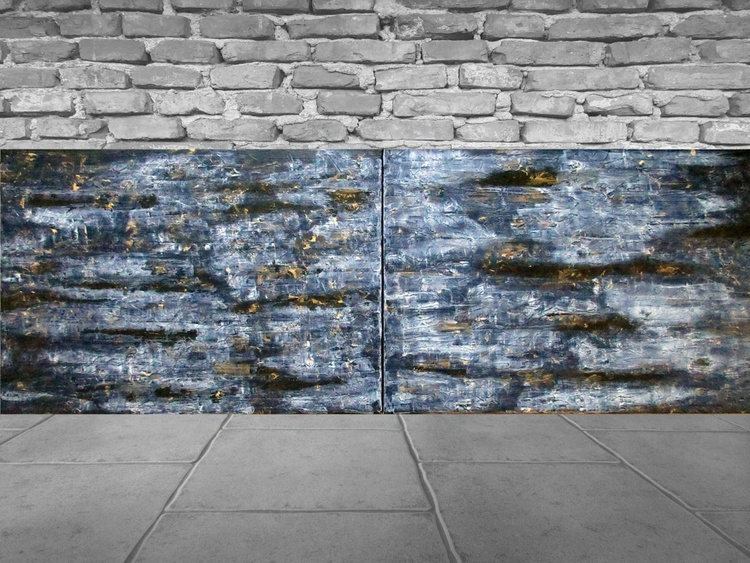 Ice Cave - large multipanel palette kniffe painting - Image 0