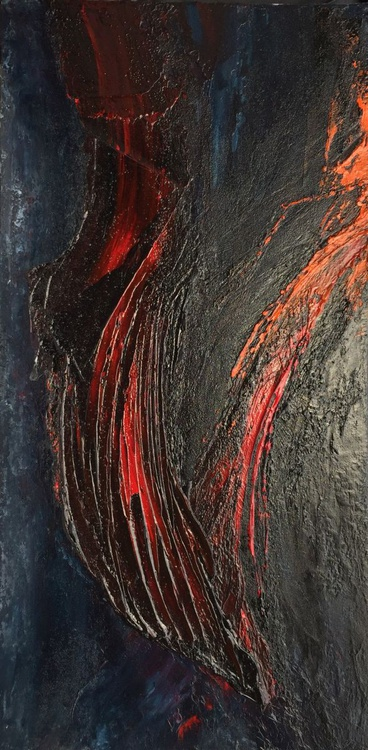 Flow of Lava #16005 (50x100cm) Textural Abstract Art - Image 0