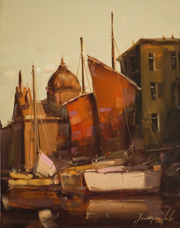 Venice and Architecture Handmade oil Painting One of a Kind - Image 0