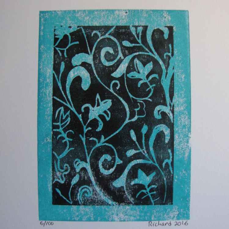Arabesque en noir et turquoise