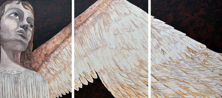 """Guardian Angel - Big Large Modern Contemporary Wall Art, Ready to Hang Tryptic Painting  72 x 31 """" - Image 0"""