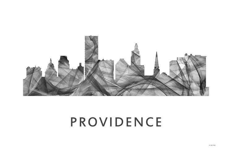 Providence Rhode Island Skyline WB BW -
