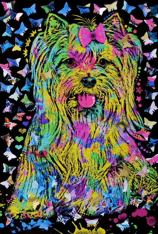 Yorkie and Butterflies - Image 0