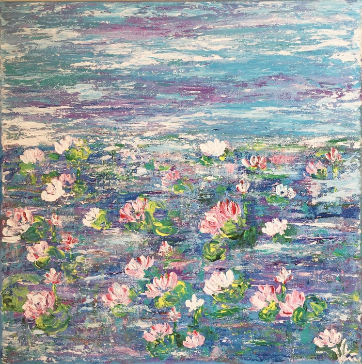Lotus Pond-Claude Monet Inspired Impressionistic Acrylic Painting Ready to Hang - Image 0