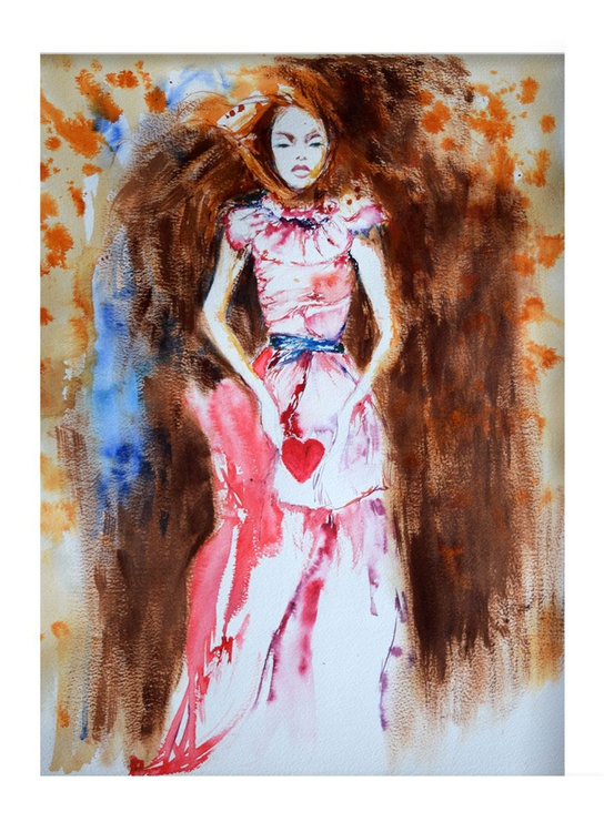 The girl with a heart/  40 cm × 50 cm - Image 0