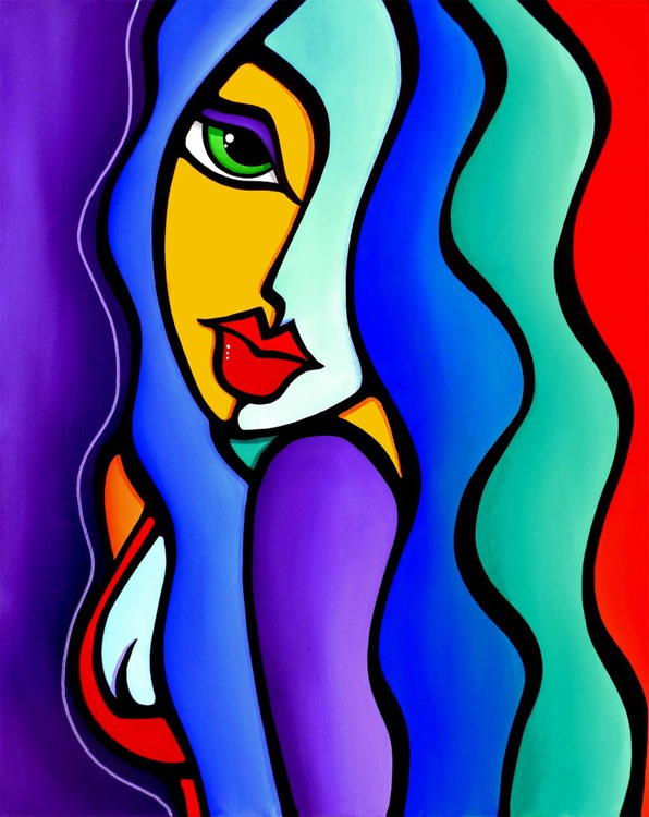Mrs Brightside - Original Abstract painting Modern pop portrait Art by Fidostudio - Image 0