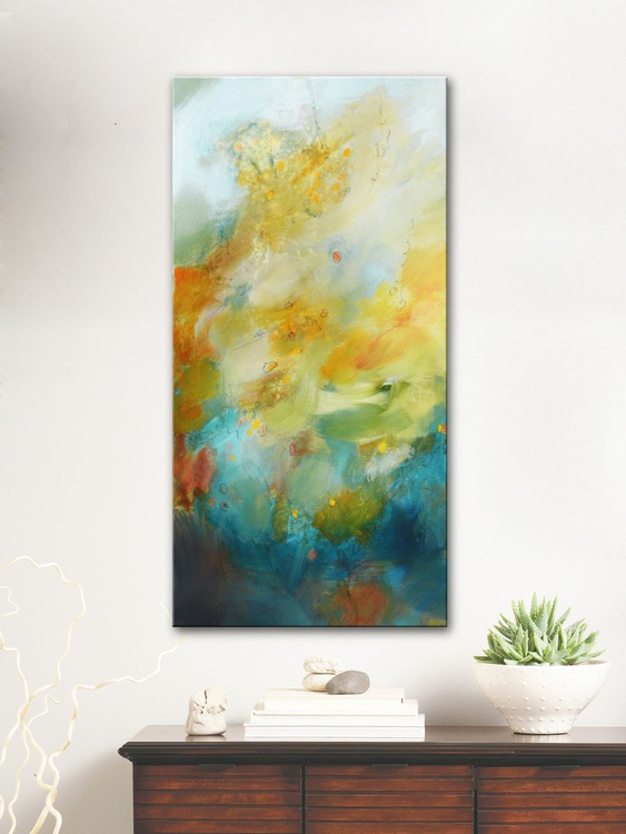Stellar Spring Blossom III, abstract painting ready to hang - Image 0