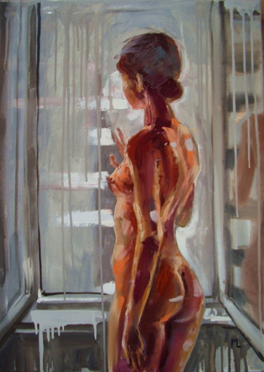 """"""" WAITING FOR YOU ... """" - 50x70cm original oil painting on canvas, gift, palette kniffe - Image 0"""