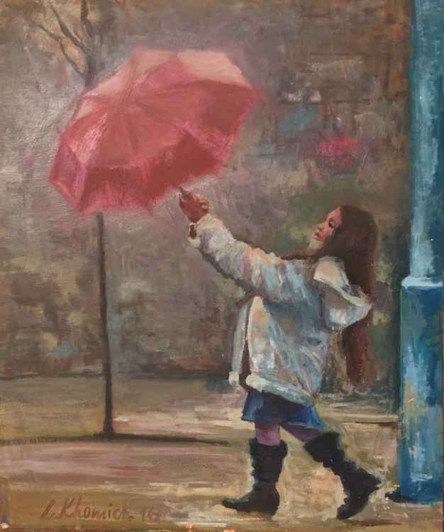 "Little Girl and Umbrella Painting 28"", Original oil painting Impression artwork, Handmade Art, Free shipping -"