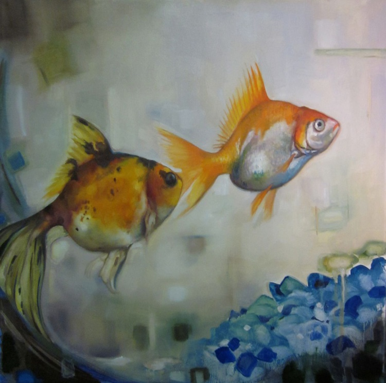 """Ralphie and Oscarita, two fish in love. Original oil on canvas 30""""x30"""" - Image 0"""