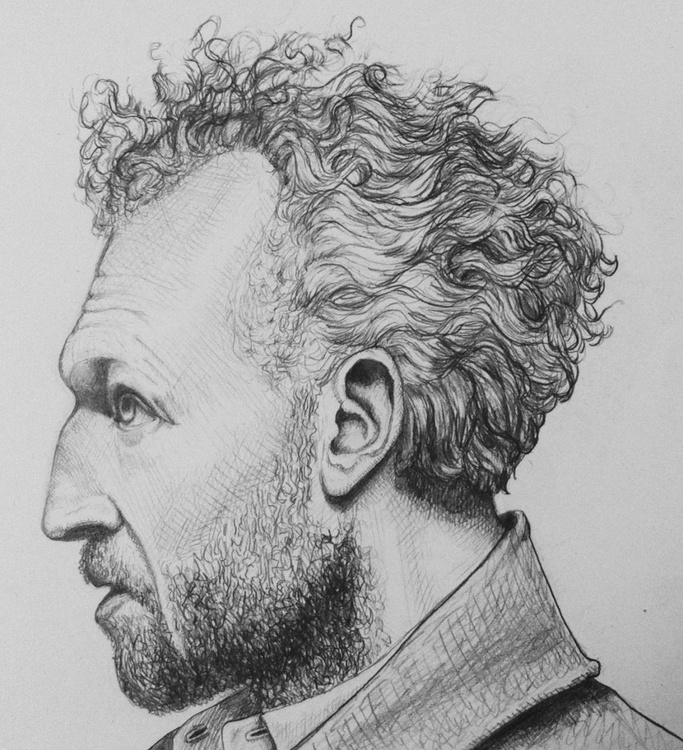 The Curly hair man. Hyper realistic portrait. - Image 0