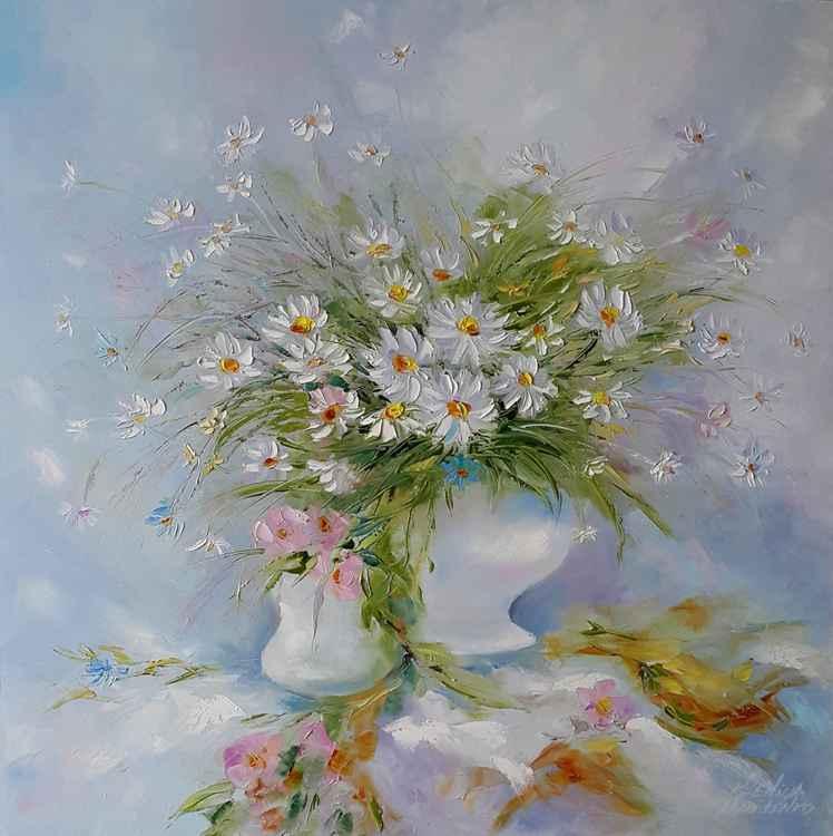 painting *Ромашка, ромашка-белый лепесток...*Oil on canvas 80х80 cm