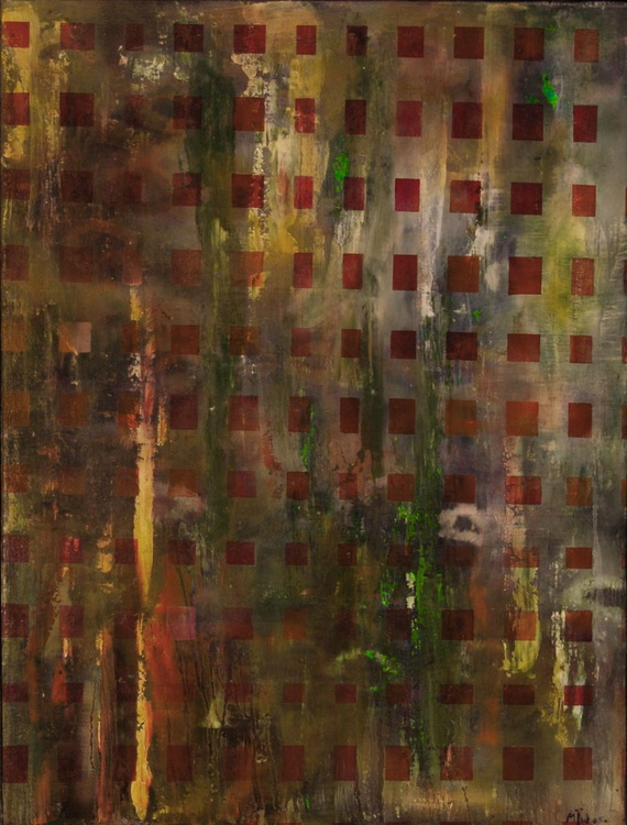 Swampy Squares - Original One of a Kind Framed Ready to Hang Abstract Oil Painting - Image 0