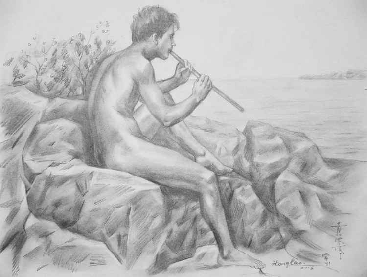 original art drawing charcoal male nude man  on paper #16-4-1-01 -