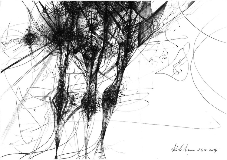 WE ARE PERENNIAL ENERGY ABOUT PASSING TIME FREEZING TEMPORALITY MASTER KLOSKA INK DRAWING - Image 0