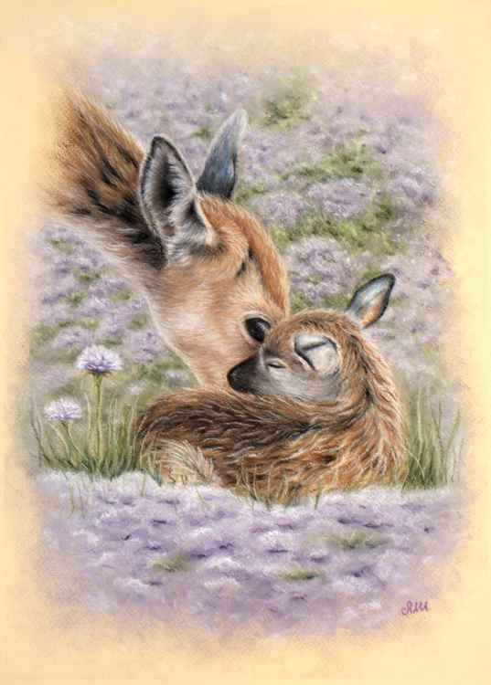"Original pastel drawing ""Tenderness"""