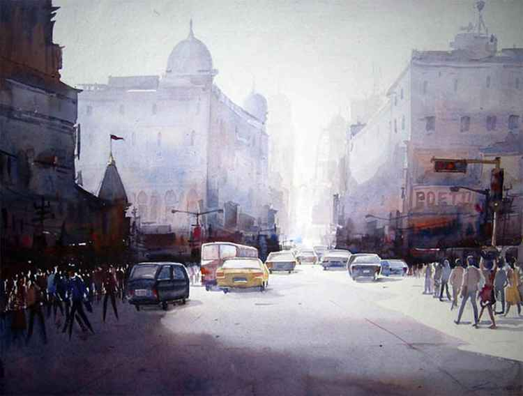 Morning City Street - Watercolor Painting -
