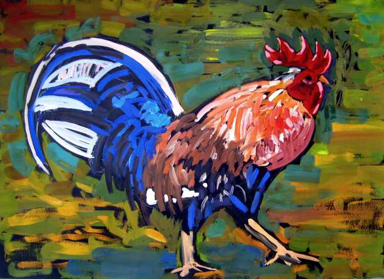 Cock, original painting 70x50 cm -