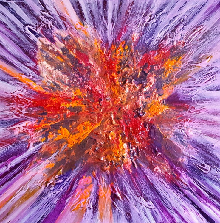 Heart of the flower - abstract painting on deep edge canvas, ready to hang, unique frothing technique,  40x40cm - Image 0